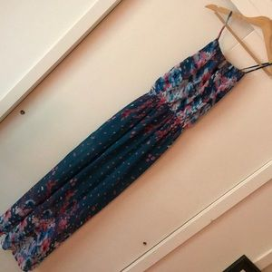 Fate Teal/Floral Chiffon Halter Maxi, Small